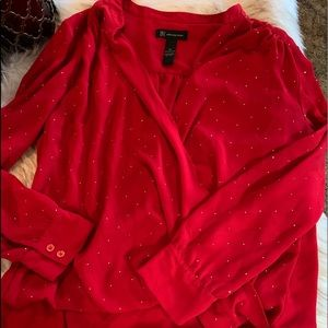 Red blouse  with silver dots